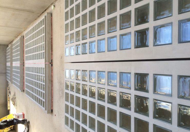 projets avec des briques de verre résistant au feu