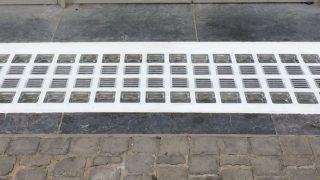 kelderdeksel in glastegels | chassis de cave briques de verre